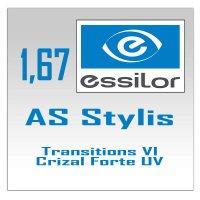 Однофокальные полимерные фотохромные линзы 1.67  AS Stylis Transitions VI Crizal Forte  UV